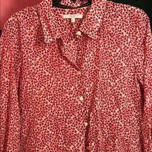Heart pattern button down shirt